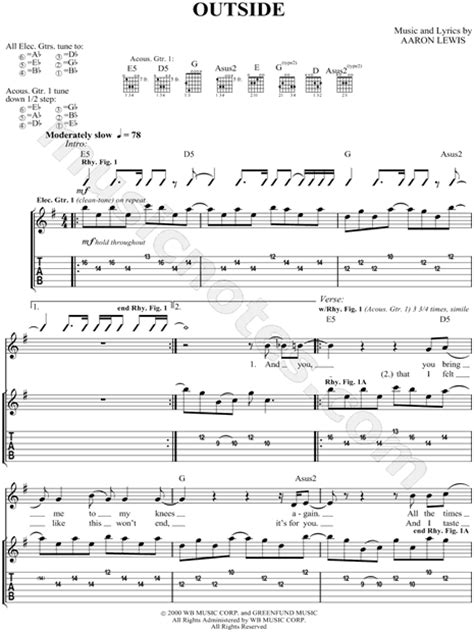 """staind """"Outside"""" Guitar Tab in G Major - Download & Print"""
