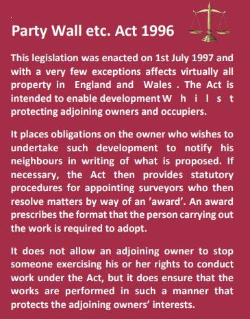 The party Wall Act 1996 | The Party Wall Act etc 1996