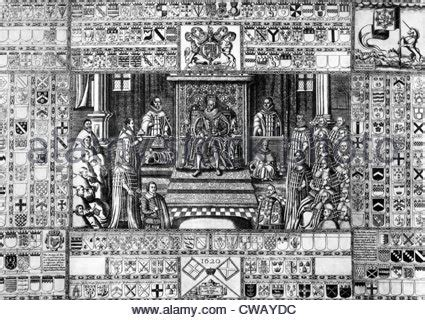 King James I (center, 1566-1625), Parliament in session in